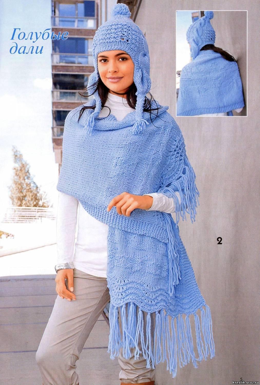 схема вязания зимней шапки женской