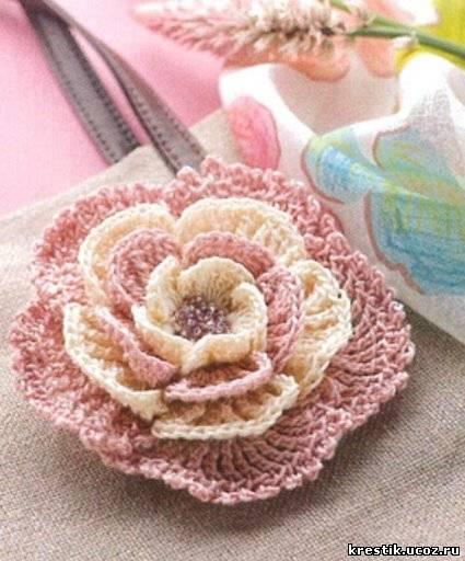 Вязание цветов спицами со