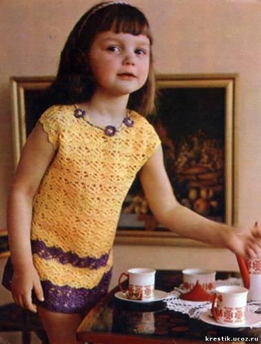 Схемы вязания крючком для девочек, детей.  Схема ажурного платья из ириса.