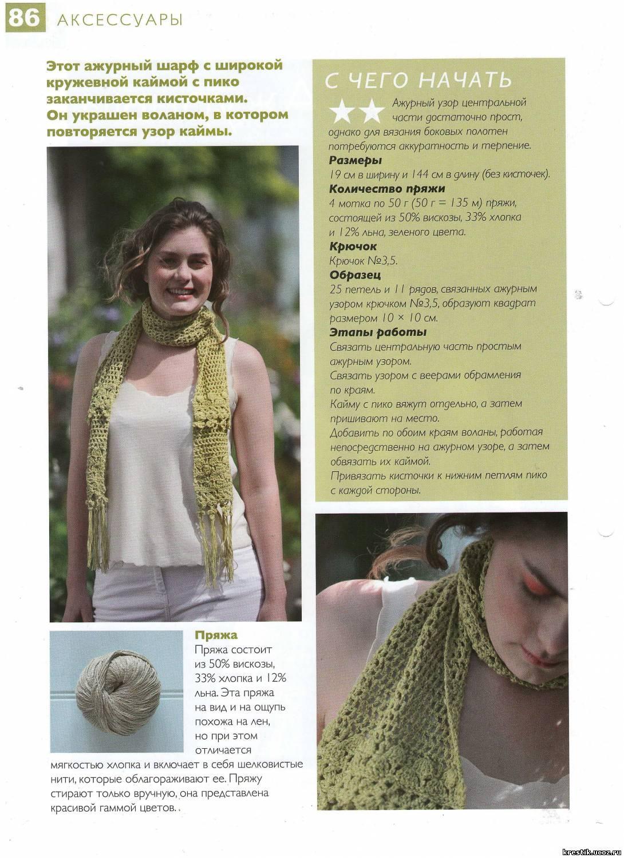 вязание спицами ажурный шарф схемы с описанием