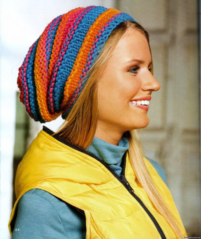 Вязание спицами полосатые шапки 70